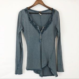 We the free Free People Distressed Long Sleeve Top
